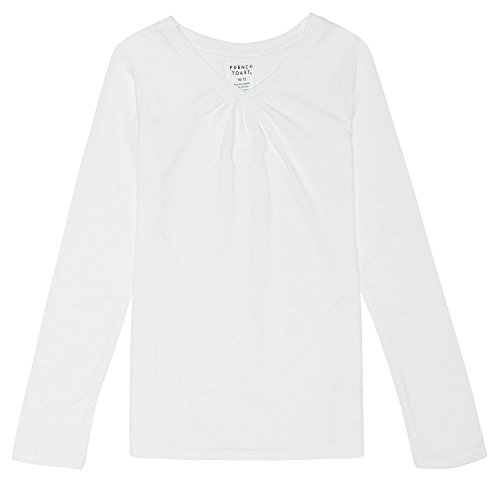 French Toast Girls'  Long Sleeve V-Neck Tee, White, M (7/8),Big Girls