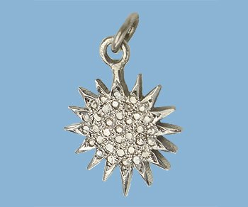 WireJewelry Sterling Silver Charm W/pave Diamonds Sun 14mm - Pack Of 1