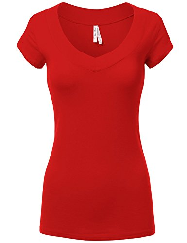 Fitted Basic Deep V-Neck Short-Sleeve Cotton Tops T-Shirts 019-Red US S