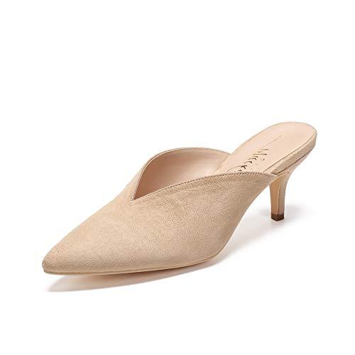 Mackin J G224-1 Women Faux Suede Pointy Heel Kitty Mule (9, Beige)