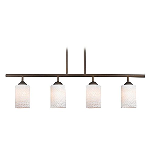 Modern Linear Pendant Light with 4-Lights and White Glass in Bronze Finish