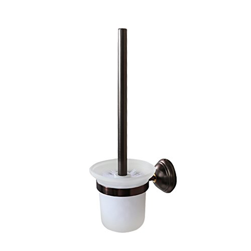 (Crown Bathroom Bronze Toilet Brush and Holder Oil Rubbed Bronze Wall Mount, RUSTPROOF Solid Brass & Frosted Glass for Bath Storage CR205)