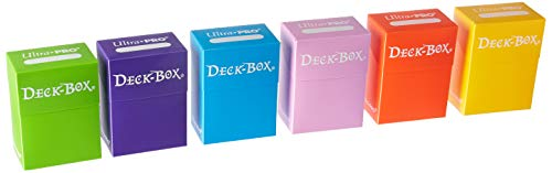 Ultra Pro Deck Box, Set of 6 (Orange, Purple, Light Blue, Pink, Yellow, Light Green)