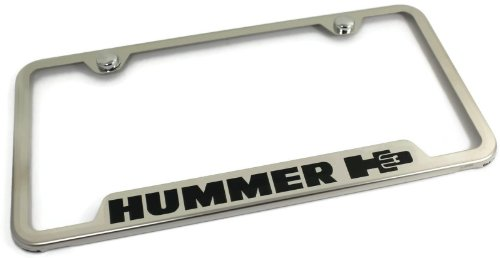 Au-Tomotive Gold INC DanteGTS Hummer H3 Stainless Steel License Plate Frame Engraved Chrome Made in USA Frame Mirror Bright Chrome