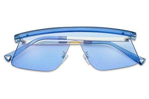 Futuristic Semi-Rimless Flat Top Color Transparent Visor Shield Mono Lens Sun Glasses - Glasses Framless