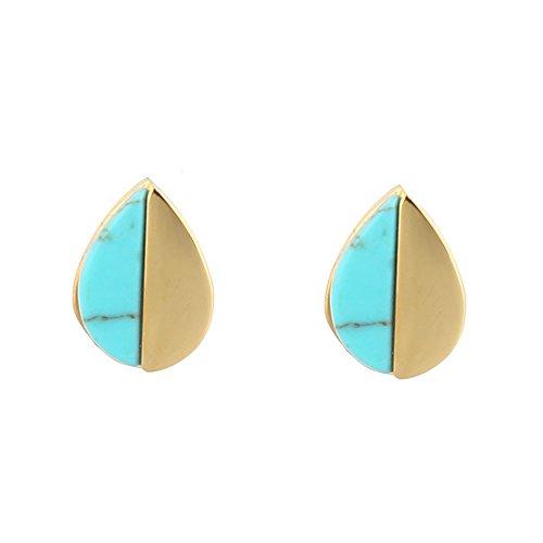 Lureme Stainless Steel 18K Gold Mini Teardrop Stud Earrings with Turquoise-Teardrop -