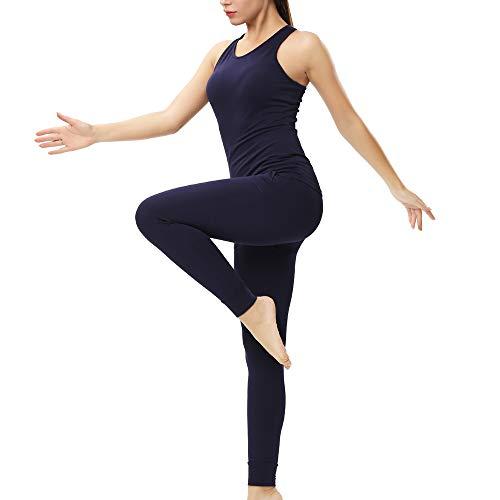 (ENIDMIL Women 2 Piece Outfits Crop Top Long Pants Leggings Yoga Set Tracksuits (XL, Navy(95% Cotton)))