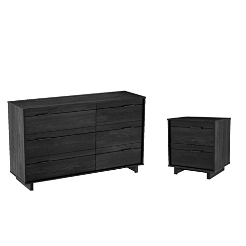 Buy Bargain Home Square 2 Piece Bedroom Set with Nightstand and Dresser in Gray Oak