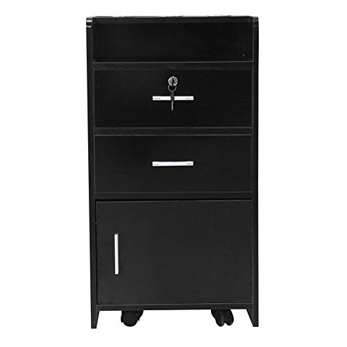 TomaticAu 3-Layer Salon Wood Rolling Drawer Cabinet with A Lock and 3 Dryer Holes Beauty Utility Cart Saving Space and Stylish appearanc