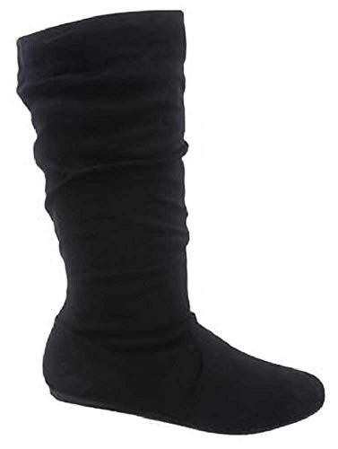 TOP Moda Women's Round Toe Slouchy Boot with Buckle (8, Premium New Black Faux -