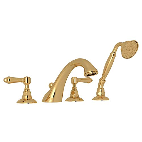 (Country Double Handle Bath Roman Tub Faucet with Lever Handle and Single Function Hand Shower Finish: Inca)