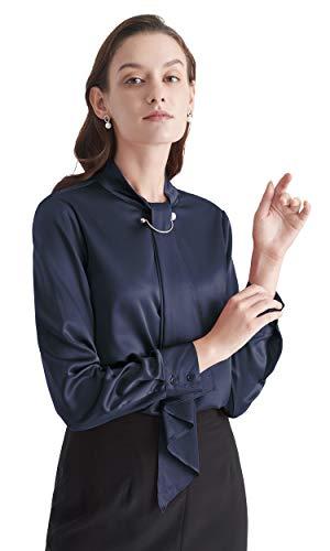 LilySilk Silk Tie Blouse Long Sleeve Feminine Stand Collar Silk Blouses for Women 19 Momme (Navy Blue, XL/14-16)