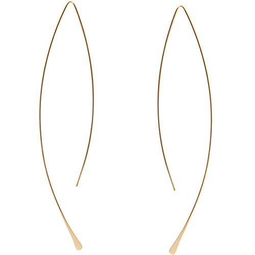 Humble Chic Curved Fish Hoops - Hypoallergenic Lightweight Upside Down Open Wire Needle Drop Dangle Threader Earrings, 18K Yellow - 3