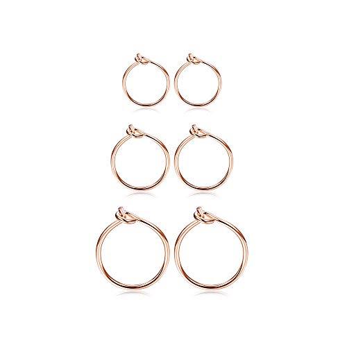 Fiasaso3Pairs925SterlingSilverHoopEarringsForWomenGirlsSmallHoopEarrings Sleeper Earrings Piercing Jewelry Set 6MM 8MM 10MM Rose Gold