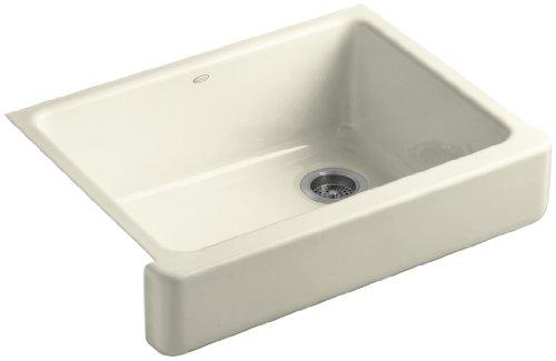 Kohler K-6486-FD Whitehaven Self-Trimming Apron Front Single Basin Kitchen Sink with Short Apron, Cane Sugar