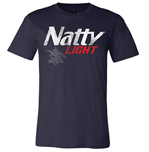 (Brew City Beer Gear Natty Light Short Sleeve T-Shirt-Navy-Large)