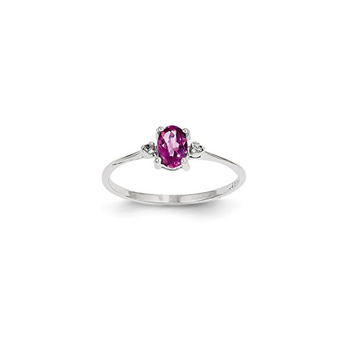 ICE CARATS 14k White Gold Diamond Pink Tourmaline Birthstone Band Ring Size 6.00 Stone October Oval Style Fine Jewelry Ideal Mothers Day Gifts For Mom Women Gift Set From Heart (Style Pink Ice Ring)