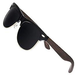 Ablibi Bamboo Wood Semi Rimless Sunglasses with Polarized Lenses in Original Boxes