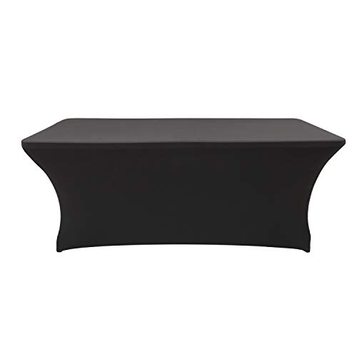 Rectangular Stretch Spandex Table Cover Fitted Tablecloth for Wedding Party Events (6ft, Black)