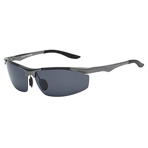 Xloop Polarized Rectangular Al-Mg Metal Half Frame Driving Sport Sunglasses For Men (1.1 Mm Polarized Lens)