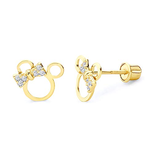 14k Yellow Gold Mouse Stud Earrings with Screw Back