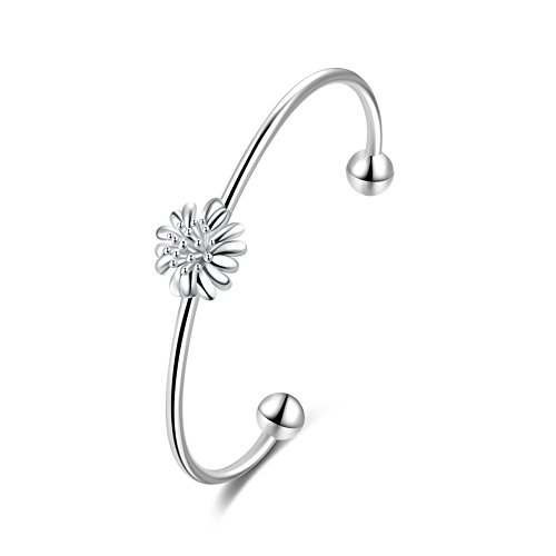 Coleman Sterling Silver Bracelet (Flower Chrysanthemum Bangle Bracelet Fashion Jewelry Silver Plated Bracelet- Lacey D. Coleman)