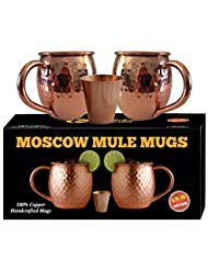 Whalehead Moscow Mule Copper Mugs - 100% Pure, Heavy Gauge, Solid Copper Mugs (1/2 lbs each) - Handcrafted, Stylish & Authentic Copper Moscow Mule Mugs with Hammered Finish - Set of 2, 16 Oz Volume