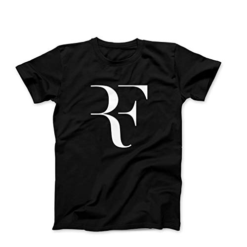 e43d155920193 Otto's Art Roger Federer RF Logo- Men's Fashion T-Shirt (Small) Black