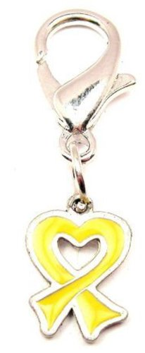Pewter Awareness Ribbon Charm - Chubby Chico Charms Yellow Heart Awareness Ribbon Pewter Charm on a Zipper Pull