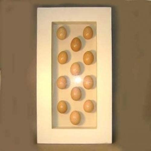 Square Nest Egg Shadow Box with 12 Real Brown Speckled Eggshells