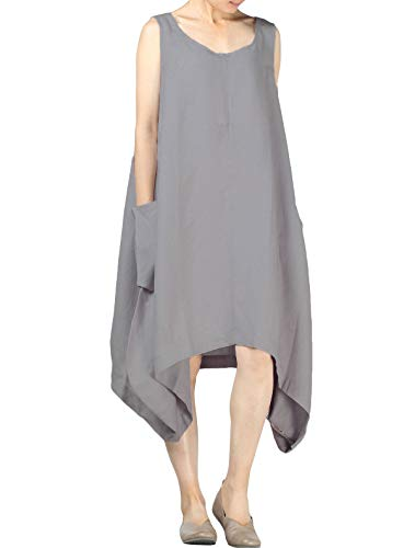 Mordenmiss Women's Summer Sleeveless Dress with Irregular Hemline Gray M
