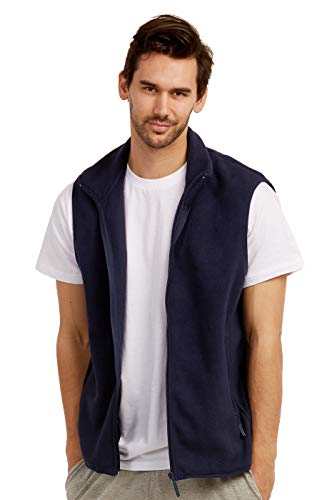 ET TU Men's Zip Up Polar Fleece Vest (2XL, - Fleece Navy Vest