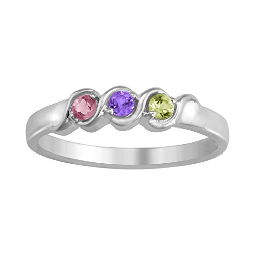 ArtCarved Memories Past Simulated Custom Birthstone Women's Ring, Sterling Silver, Size 8 (Sterling Swirl Birthstone Family Silver Ring)