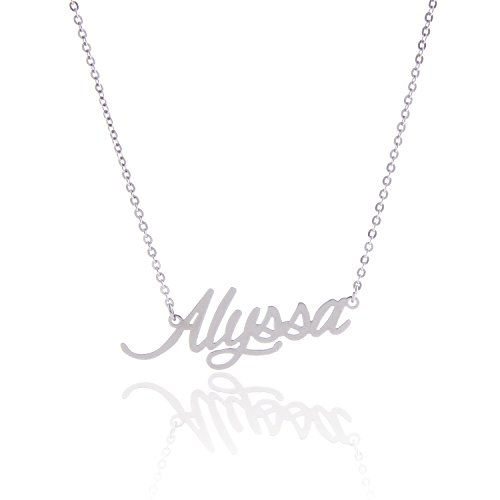 HUAN XUN Stainless Steel Small Nameplate Necklace, (Small Nameplate)