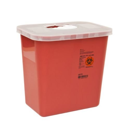 Covidien 8920SA Multi-Purpose Containers with Rotor Opening Lid, 2 quart Capacity, 4.58'' Height x 6.285'' Depth x 4.75'' Width, Red (Pack of 60)
