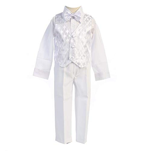 - Angels Garment White 5 Piece Satin Vest Tuxedo Baptism Set Boys 3-6M
