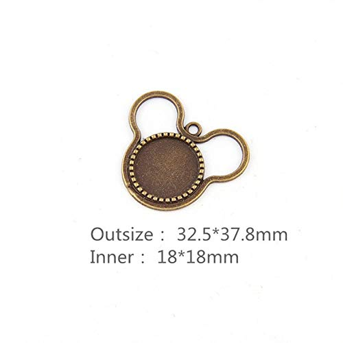 (Triangle-Box - 10pcs DIY Antiqued Bronze Copper Mouse Cameo Cabochon Round Base Setting Necklace Pendant Tray Bezel 18mm Jewelry Blanks)