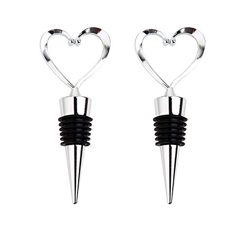 - 2PCS Stainless Steel Love Design Wine and Beverage Bottle Stoppers, Heart Shape