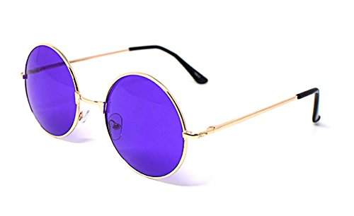 Gold Frame Purple Lenses Adults Retro Round Sunglasses John Lennon Style Vintage Look Quality UV400 John Lennon Style for Men - Oversized Sunglasses John Lennon