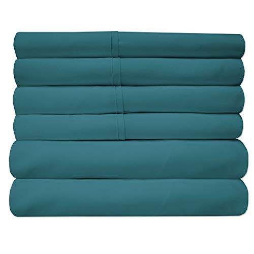 Sweet Home Collection Quality Deep Pocket Bed Sheet Set-2 Extra Pillow Cases, Value, Twin, Teal, 4 Piece