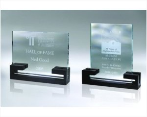 ANEDesigns Engraved Starfire Glass Plaque Award in Black Wooden Base