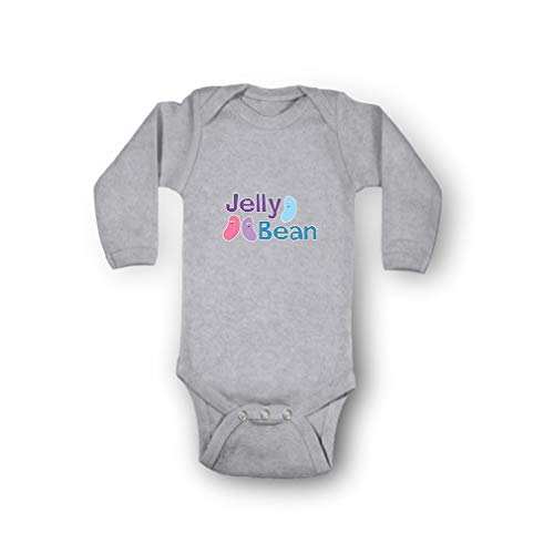 Cute Rascals Jelly Bean Envelope Neck Boys-Girls Long Sleeve Cotton Baby Bodysuit One Piece - Oxford Gray, Newborn - Jelly Bean Babies