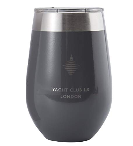 Yacht Club LX 12 oz Insulated Stemless Wine Glass Tumbler with Velvet-Wrapping Pouch - London Grey with Big - Velvet London