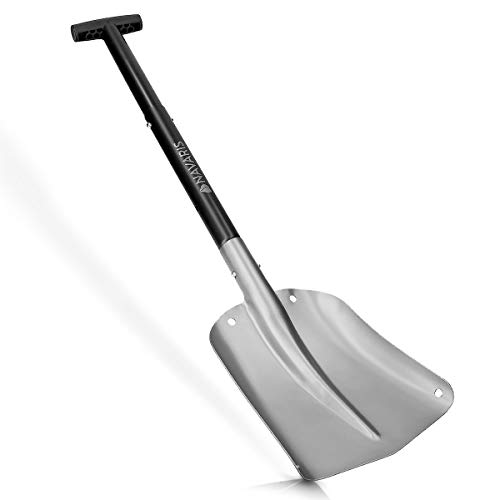 (Navaris Aluminum Utility Snow Shovel - Portable Collapsible Lightweight Sport Utility Shovel for Snow Removal for Car, Truck, Camping - Silver Black)