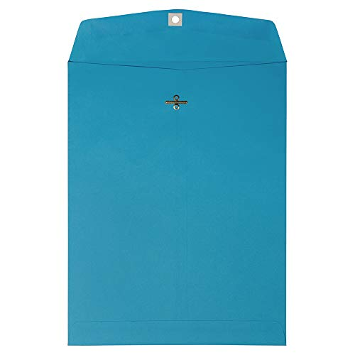 JAM PAPER 10 x 13 Open End Catalog Colored Envelopes with Clasp Closure - Blue Recycled - - Recycled Envelopes Mailing