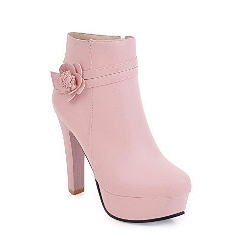 BalaMasa Womens Dress Ruffles Platform Urethane Boots ABL10182 Pink