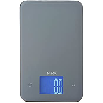 MIRA Digital Kitchen Scale, Tempered Glass, Large Display, Touch Buttons, Gray