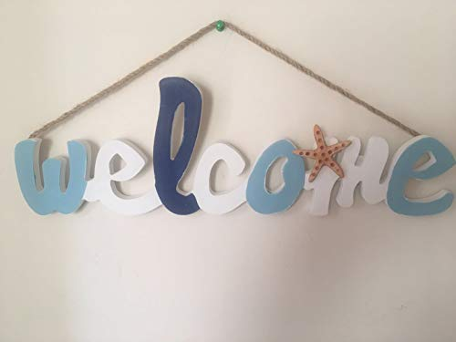 Grace Home Hanging Vintage Wooden Nautical Welcome Sign Beach Themed Wall Decoration for Front Door Patio Decoration,Housewarming Gift,18''L