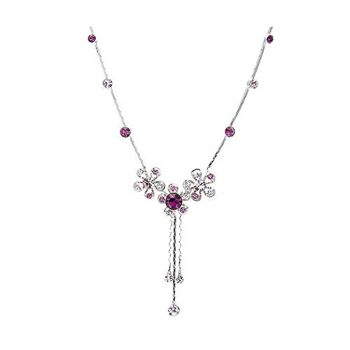 Glamorousky Silver Flower Necklace with Purple Austrian Element Crystals 1008