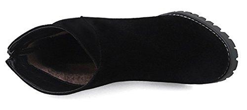 Black Casual Heel Zipper Chunky Boots Women's High Microsuede Back SHOWHOW IzqxZHTw5q